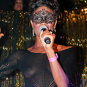 NLD/Amsterdam/20111001 - Verjaardag Mayday 2011, Sylvana Simons in een doorzichtig jurkje