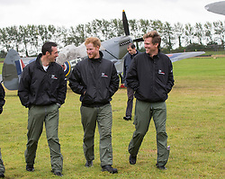 GOODWOOD - UK - 15- SEPT - 2015- Britain's Prince Harry views WWII Spitfire fighter planes on the anniversary of the Battle of Britain. A flypast of the historic aircraft is due to take place flying from Goodwood airfield in Sussex to St Pauls Cathedral in London.<br /> Prince Harry was sporting a beard grow on his recent trip to Africa.<br /> Photograph by Ian Jones&copy;
