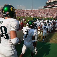 Oregon Ducks football team enters the stadium for the second half of the game against the Oklahoma Sooners.