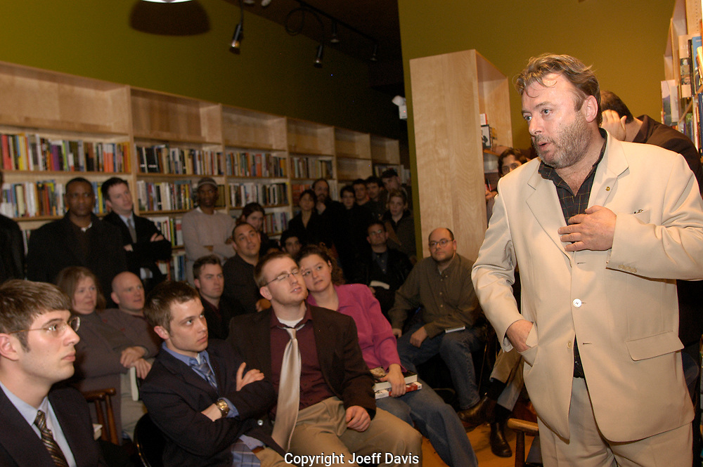 CHICAGO, IL-FEB 24, 2005: Author Christopher Hitchens holds court and reads from his books at a Chicago north side bookstore.