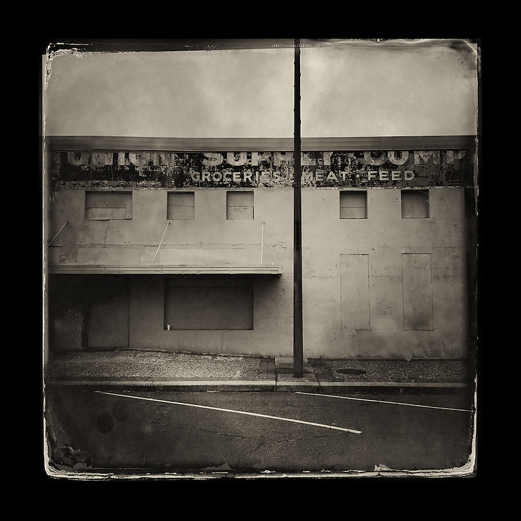 "Charles Blackburn image of abandoned grocery supply in Texarkana, TX. 5x5"" print."