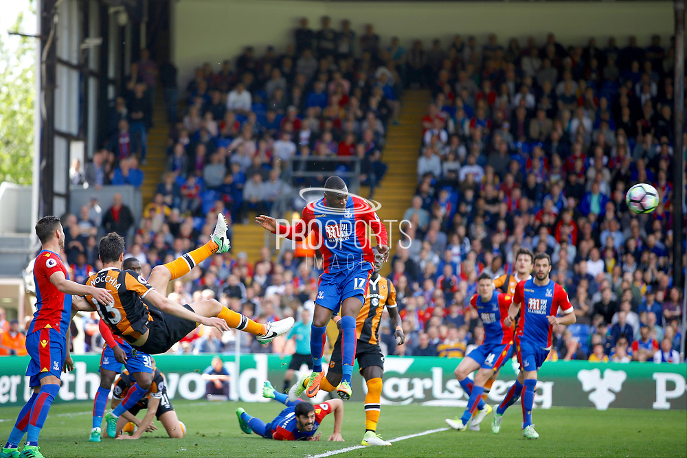 Crystal Palace striker Christian Benteke heads clear during the Premier League match between Crystal Palace and Hull City at Selhurst Park, London, England on 14 May 2017. Photo by Andy Walter.