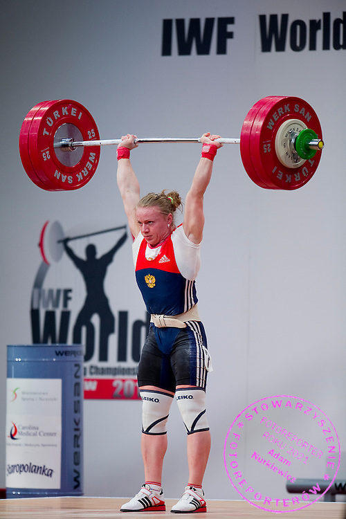 Tima Turieva from Russia lifts in Clean &amp; Jerk competition woman's 63 kg Group A  during weightlifting IWF World Championships Wroclaw 2013 at Centennial Hall in Wroclaw on October 23, 2013.<br /> <br /> Poland, Wroclaw, October 23, 2013<br /> <br /> Picture also available in RAW (NEF) or TIFF format on special request.<br /> <br /> For editorial use only. Any commercial or promotional use requires permission.<br /> <br /> Mandatory credit:<br /> Photo by &copy; Adam Nurkiewicz / Mediasport