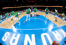 Players of Slovenia at warming up prior to the basketball game between National basketball teams of Slovenia and Lithuania at of FIBA Europe Eurobasket Lithuania 2011, on September 15, 2011, in Arena Zalgirio, Kaunas, Lithuania.  (Photo by Vid Ponikvar / Sportida)
