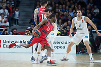 Real Madrid Rudy Fernandez and Felipe Reyes and Baskonia Vitoria Rodrigue Beauvois and Vincent Poirier during Turkish Airlines Euroleague match between Real Madrid and Baskonia Vitoria at Wizink Center in Madrid, Spain. January 17, 2018. (ALTERPHOTOS/Borja B.Hojas)