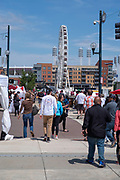 People gather along the riverfront at Cincinnati's Asian American Food Festival; May, 2019; Cincinnati, Ohio, USA.