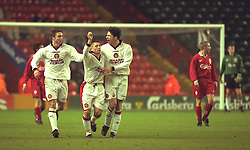 LIVERPOOL, ENGLAND - Tuesday, January 7, 1997: Manchester United's Alexander Notman celebrates scoring from the penalty spot against Liverpool during the FA Youth Cup match at Anfield. United won 2-1. (Pic by David Rawcliffe/Propaganda)