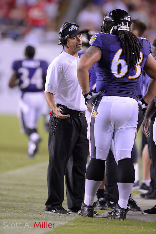 Baltimore Ravens head coach John Harbaugh during a preseason NFL game at Raymond James Stadium on Aug. 8, 2013 in Tampa, Florida. <br /> <br /> &copy;2013 Scott A. Miller