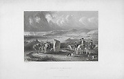 Engravings of Scottish landscapes and buildings from late eighteenth and early nineteenth century, Shanter Farm and Bay, Scotland artist David Octavius Hill