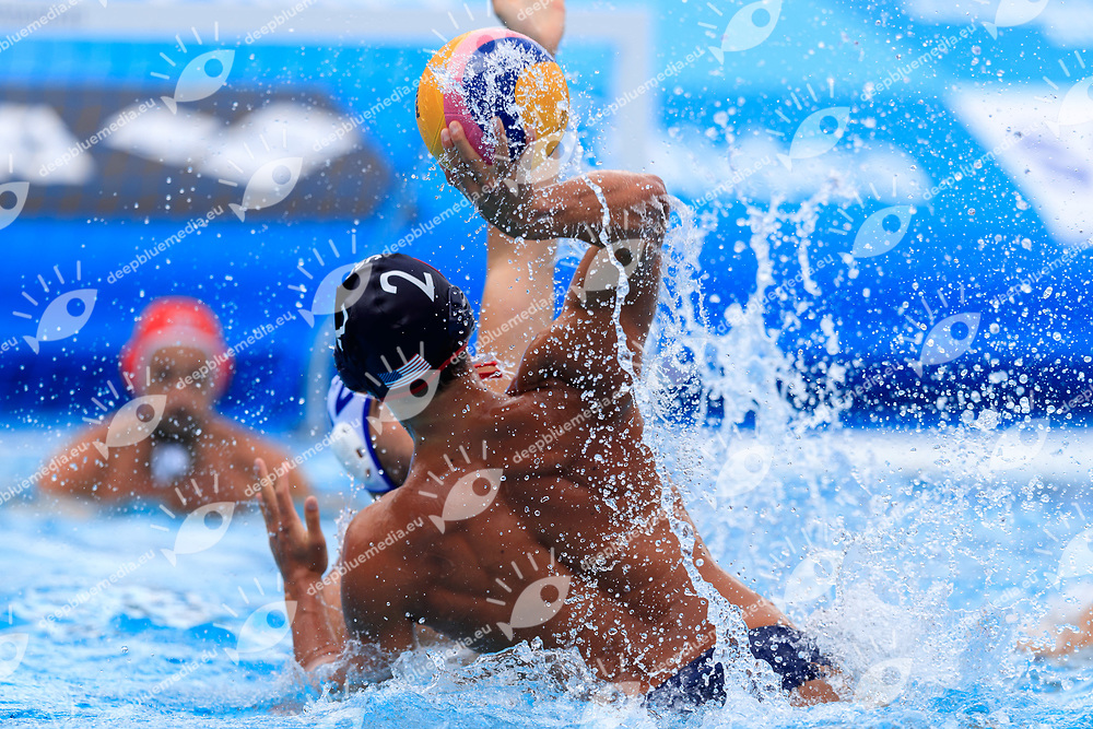 Jonathan Mavashi Hooper of United states of america<br /> Greece (white cap) -  Spain (blue cap)<br /> Quarterfinal  Round Water Polo Women<br /> Day10  23/07/2017 <br /> XVII FINA World Championships Aquatics<br /> Alfred Hajos Complex Margaret Island  <br /> Budapest Hungary <br /> Photo @Deepbluemedia/Insidefoto Photo @Marcelterbals/Deepbluemedia/Insidefoto