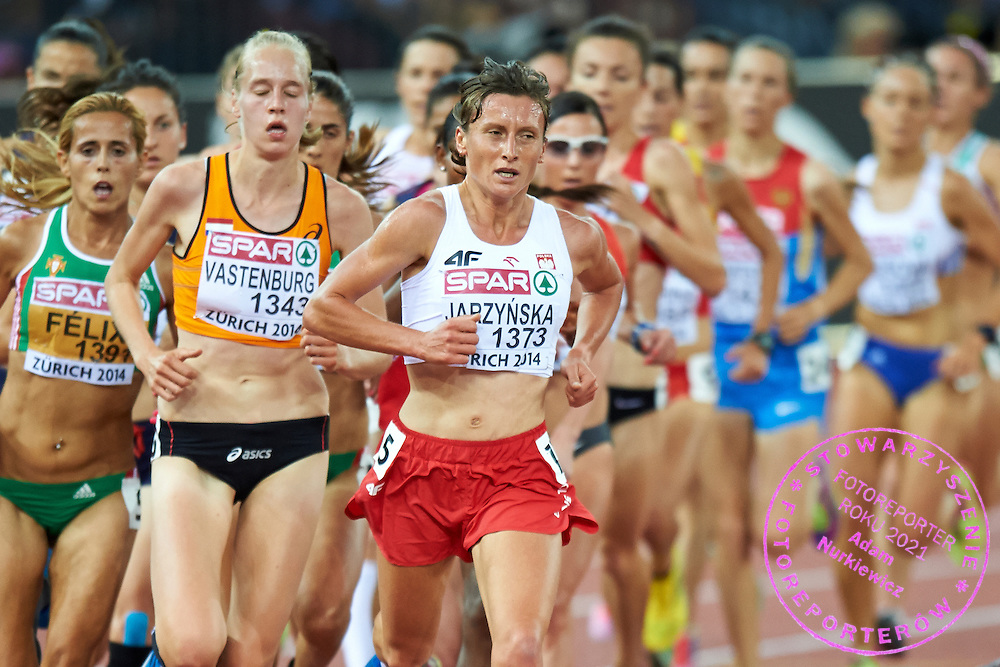 Karolina Jarzynska from Poland competes in women's 10000 meters final during the First Day of the European Athletics Championships Zurich 2014 at Letzigrund Stadium in Zurich, Switzerland.<br /> <br /> Switzerland, Zurich, August 12, 2014<br /> <br /> Picture also available in RAW (NEF) or TIFF format on special request.<br /> <br /> For editorial use only. Any commercial or promotional use requires permission.<br /> <br /> Photo by &copy; Adam Nurkiewicz / Mediasport
