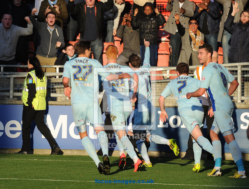 Jim O'Brien (11) of Coventry City celebrates after scoring the opening goal with his team mates during the Sky Bet League 1 match at the Matchroom Stadium, London<br /> Picture by Alan Stanford/Focus Images Ltd +44 7915 056117<br /> 01/11/2014