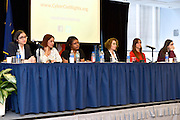 Queens College panel discussion: Women, Technology and Internet Culture, 3/16/15. L-R: Katherine Cross, Anitha Raj, Mikki Kendall, Ellen Ullman, Holly Jacobs and Amanda Filipacchi.