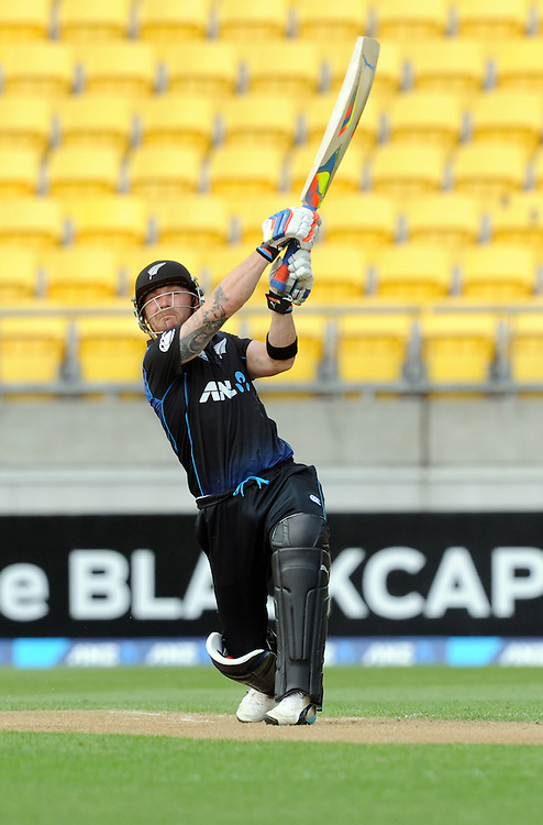 New Zealand's Brendon McCullum skies the ball to caught out by Pakistan's Ahmed Shehzad for 17 in the 1st One Day International cricket match at Westpac Stadium, New Zealand, Saturday, January 31, 2015. Credit:SNPA / Ross Setford