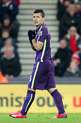 Manchester City's Sergio Aguero reacts after being fouled - Photo mandatory by-line: Matt McNulty/JMP - Mobile: 07966 386802 - 11/02/2015 - SPORT - Football - Stoke - Britannia Stadium - Stoke City v Manchester City - Barclays Premier League