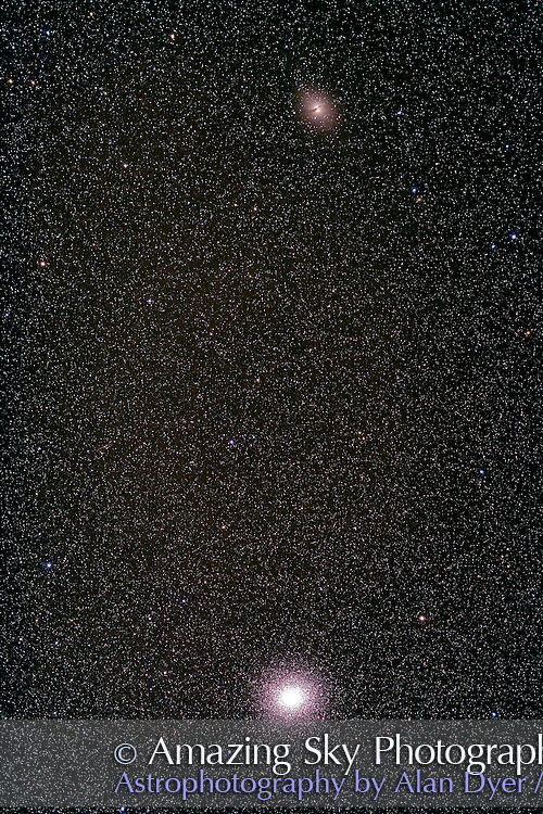 Centaurus A with Omega Centauri cluster. Taken with 77mm Borg astrographic refractor at f/4.3 and Hutech-modified Canon 5D camera at ISO 400 for stack of 5 x 8 minute exposures. Taken from Coonabarabran, NSW, Australia, April 16, 2007.