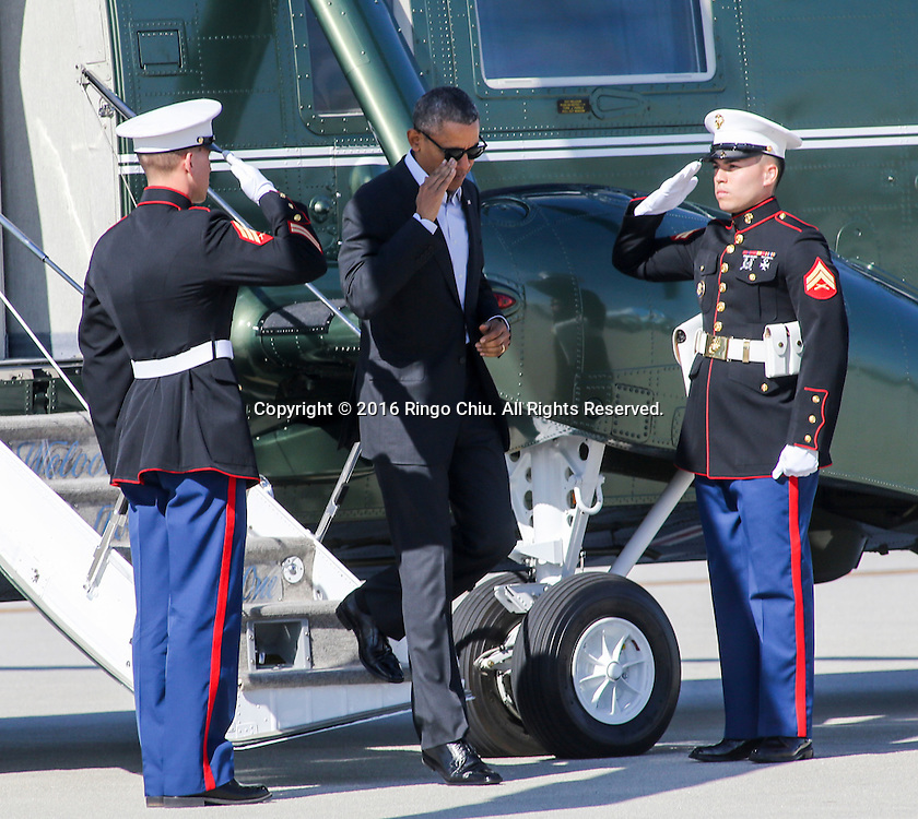 President Barack Obama exits Marine One at Los Angeles International Airport in Los Angeles, Friday, Feb 12, 2016, en route to Palm Springs in advance of a summit of Asian leaders on Monday and Tuesday, which the president will host at Sunnylands resort in Rancho Mirage. Obama will be joined by Secretary of State John Kerry at Sunnylands for the gathering of leaders from the Association of Southeast Asian Nations. The summit is aimed at strengthening the new U.S.-ASEAN strategic partnership, forged last November during a presidential trip to Malaysia. (Photo by Ringo Chiu/PHOTOFORMULA.com)<br /> <br /> Usage Notes: This content is intended for editorial use only. For other uses, additional clearances may be required.