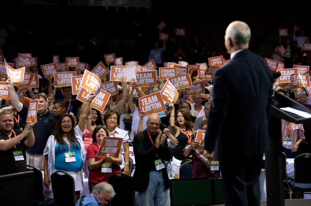 Jack Layton addresses delegates on the last day of the New Democratic Party of Canada National Convention in Halifax on August 16th, 2009.