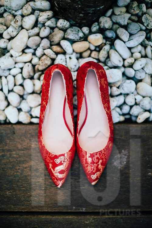 A Chinese bride's shoes on her wedding day, Ko Samui, Thailand, Southeast Asia