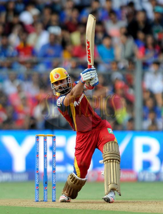 Virat Kohli captain of Royal Challengers Bangalore bats during match 46 of the Pepsi IPL 2015 (Indian Premier League) between The Mumbai Indians and The Royal Challengers Bangalore held at the Wankhede Stadium in Mumbai, India on the 10th May 2015.<br /> <br /> Photo by:  Pal Pillai / SPORTZPICS / IPL
