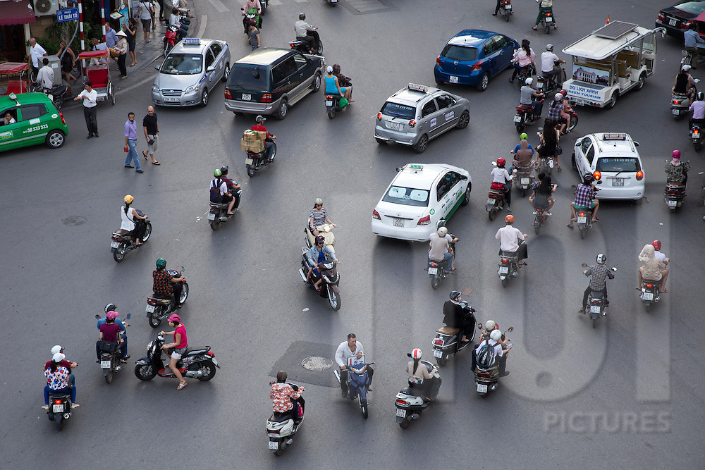 Traffic seen from Legend Beer building, Hanoi, Vietnam, Southeast Asia