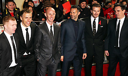 From left, Paul Scholes, Phil Neville, Nicky Butt , Ryan Giggs, David Beckham and Gary Neville  at the The Class of 92 premiere in London, Sunday, 1st December 2013. <br /> Picture by Stephen Lock / i-Images