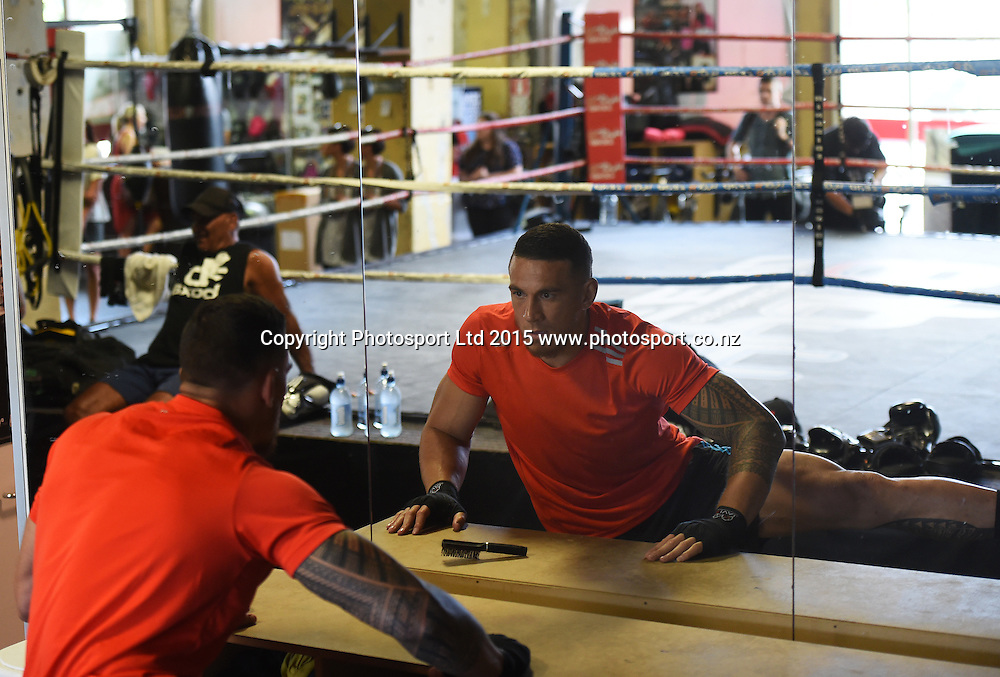 All Blacks player Sonny Bill Williams during a boxing training session ahead of his boxing match in Sydney at the end of this month. Boxing Alley, Parnell, Auckland. New Zealand. Tuesday 20 January 2015. Copyright photo: Andrew Cornaga / www.photosport.co.nz