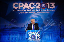 """March 15, 2013 - National Harbor, Maryland, U.S. - DONALD TRUMP speaks at the 2013 Conservative Political Action Conference (CPAC) being held at held at the Gaylord National Resort & Convention Center in National Harbor, Md. near Washington D.C. This year's theme is """"America's Future: The Next Generation of Conservatives. New Challenges, Timeless Principles, (Credit Image: © Pete Marovich/ZUMAPRESS.com)"""