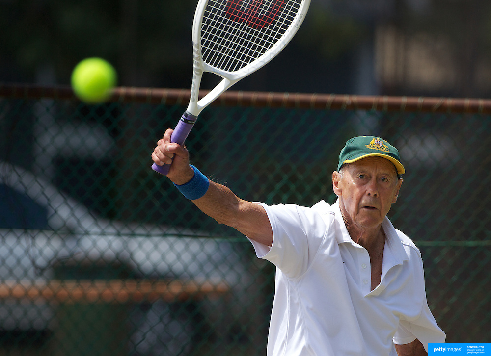 Harward Hillier, Australia, winning the 80 Mens Singles Final during the 2009 ITF Super-Seniors World Team and Individual Championships at Perth, Western Australia, between 2-15th November, 2009.