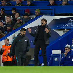 Chelsea Manager Antonio Conte looks frustrated during the Champions League match between Chelsea and Brcelona at Stamford Bridge, London on Tuesday 20th February 2018.  (C) Steven Morris | SportPix.org.uk