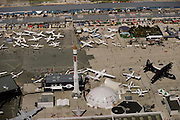 Aerial of the Paris Air Show, at Le Bourget Airport, France. Held every other year, the event is one of the world's biggest international trade fairs for the aerospace business.