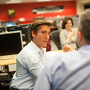 "August 29, 2014 - New York, NY : ABC News Anchor David Muir, left, takes part in an editorial meeting with producers at the ""World News Tonight with David Muir"" rim in the ABC News building on West 66th Street on Friday afternoon. David Muir is taking over for Diane Sawyer as anchor of ABC's ""World News Tonight."" CREDIT: Karsten Moran for The New York Times"