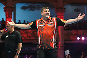 Mensur Suljovic wins the match during the BetVictor World Matchplay Darts 2018 semi final at Winter Gardens, Blackpool, United Kingdom on 28 July 2018. Picture by Shane Healey.