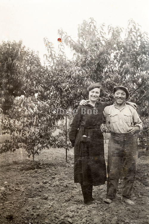 vintage happy smiling couple portrait 1933 France