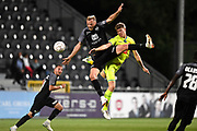 David Pollet and Sigurd Rosted fight for the ball during the Jupiler Pro League matchday 4 between Kas Eupen and Kaa Gent on August 19, 2018 in Eupen, Belgium, Photo by David Hagemann /Isosport / Pro Shots / ProSportsImages / DPPI