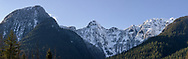Evans Peak and Alouette Mountain (Blanshard Peak), Edge Peak of the Mount Blanshard Massif with some fresh snow in late winter.  Photographed along Gold Creek at Golden Ears Provincial Park in Maple Ridge, British Columbia, Canada