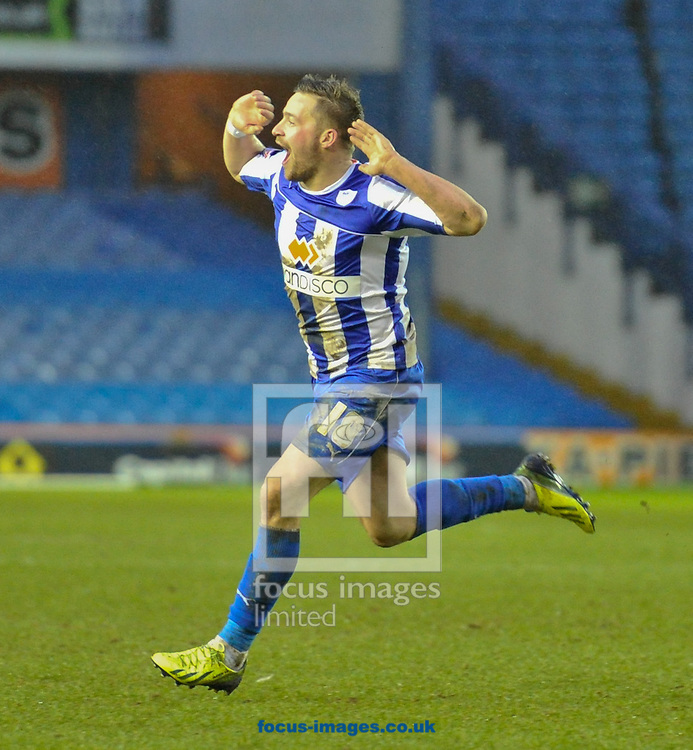 Picture by Richard Land/Focus Images Ltd +44 7713 507003<br /> 01/02/2014<br /> Chris Maguire of Sheffield Wednesday celebrates his injury time winner during the Sky Bet Championship match at Hillsborough, Sheffield.