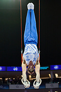 James Hall of Great Britain on the rings during the The Superstars of Gymnastics event at the O2 Arena, London, United Kingdom on 23 March 2019.