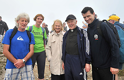 Dr Paul Nolan, Ruth Foley, Helen Neary, Archbishop of Tuam Michael Neary and Dr Conor Deacy pictured on the summit of Croagh Patrick yesterday.<br /> Pic Conor McKeown