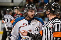 KELOWNA, CANADA, NOVEMBER 25: Max Reinhart #23 of the Kootenay Ice speaks to the referee as the Kootenay Ice visit the Kelowna Rockets  on November 25, 2011 at Prospera Place in Kelowna, British Columbia, Canada (Photo by Marissa Baecker/Shoot the Breeze) *** Local Caption *** Max Reinhart;