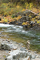 Man fly fishing on the South Fork of the Yuba River in Northern California.