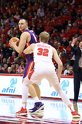 03 February 2018:  Dainius Chatkevicius defended by Taylor Bruninga during a College mens basketball game between the Evansville Purple Aces and Illinois State Redbirds in Redbird Arena, Normal IL