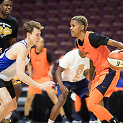 UNCASVILLE, CONNECTICUT- May 2:  Courtney Williams #10 of the Connecticut Sun in action during the Connecticut Sun pre season training in preparation for the 2018 WNBA season at Mohegan Sun Arena on May 2, 2018 in Uncasville, Connecticut. (Photo by Tim Clayton/Corbis via Getty Images)