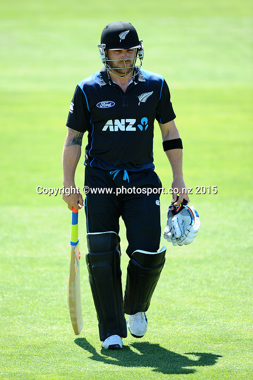 Black Cap Brendon McCullum walks off after getting out during Match 4 of the ANZ One Day International Cricket Series between New Zealand Black Caps and Sri Lanka at Saxton Oval, Nelson, New Zealand. Tuesday 20 January 2015. Copyright Photo: Chris Symes/www.Photosport.co.nz