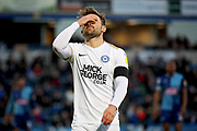 Peterborough United forward Matt Godden (9) is frustrated as he misses another chance during the EFL Sky Bet League 1 match between Wycombe Wanderers and Peterborough United at Adams Park, High Wycombe, England on 3 November 2018.