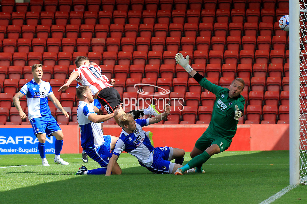 Billy Waters scores the opening goal during the Pre-Season Friendly match between Cheltenham Town and Bristol Rovers at Whaddon Road, Cheltenham, England on 25 July 2015. Photo by Antony Thompson.