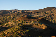See Mauna Kea's cinder cones from Sunset Hill on the Big Island, Hawaii, USA. For colorful sunset views of the Saddle Road region, walk 1 mile round trip (160 ft gain) to the cinder cone of Pu'u Kalepeamoa, or Sunset Hill, from the Onizuka Center for International Astronomy Mauna Kea Visitor Information Station at 9200 ft elevation. About a million years old and last erupted 6000 to 4000 years ago, Mauna Kea is a dormant volcano on the Big Island of Hawaii. Mauna Kea stands 13,800 feet above sea level and is the highest point in the state of Hawaii. Measured from its base on the ocean floor, it rises over 33,000 ft, significantly greater than the elevation of Mount Everest above sea level. Paving ends at the Visitor Info Station, and four-wheel drive is recommended to reach the top, where Mauna Kea summit's dry, clear, stable air makes one of the world's best sites for astronomy. Since the road created access in 1964, 13 telescopes funded by 11 countries have been built at the summit. In a tour de force of early science, expert seafaring and astronomy skills allowed far-flung Polynesians to discover and settle Hawaii around 300-600AD. Ironically, from 2013-2016, plans for a wondrous Thirty Meter Telescope (TMT) atop Mauna Kea attracted protests by Native Hawaiian groups who cited cultural/religious/political grievances, and the project was postponed. The TMT could potentially look across space and time to the first stars that ever shone in the universe, over 13 billion years ago (and would energize the local economy).