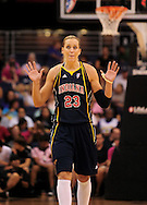 Aug 8, 2010; Phoenix, AZ, USA; Indiana Fever guard Katie Douglas reacts during the first half at US Airways Center.  The Fever defeated the Mercury 104-82.  Mandatory Credit: Jennifer Stewart-US PRESSWIRE