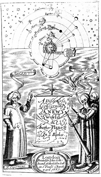 Title page of John Wilkins 'A Discourse Concerning a New World & Another Planet' London 1683 (Ist edition 1640) Copernicus,  Galileo and Kepler represented in bottom corners.