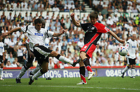Photo: Rich Eaton.<br /> <br /> Derby County v Southampton. Coca Cola Championship.<br /> <br /> 06/08/2006. Derbys Marc Edworthy left, blocks a shot  from Southamptons Gregorz Rasiak